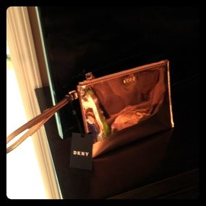Rose Gold DKNY Metallic Wristlet